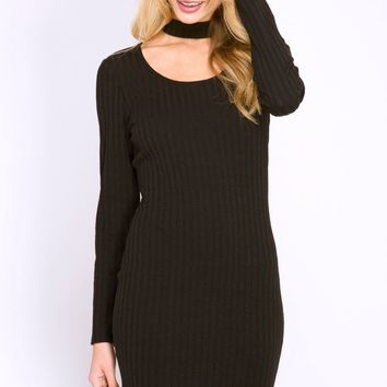 Black Ribbed Bodycon Choker Dress