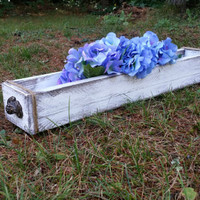 Large Distressed Shabby Chic Planter Box with 6 Painted Mason Jars, Rustic Centerpiece, Storage Box, Rustic Wedding Centerpiece