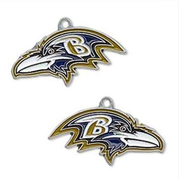 Hot Sale Alloy Enamel Football Team Baltimore Ravens Charms For DIY Bracelet & Necklace & Earrings & Pendant Jewelry 5pairs