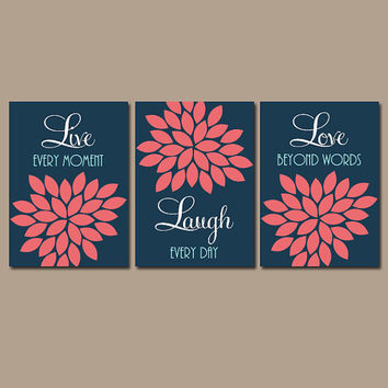 Navy Coral Wall Art, CANVAS or Prints Live Laugh Love Wall Art, Bedroom Pictures, Bathroom Artwork, Flower Wall Art, Set of 3 Wall Decor