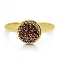 Round Multi-Color Natural Druzy Quartz Goldtone Brass Fashion Ring #r701-M