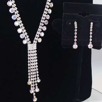 Rhinestone and AB Crystal Dangle Necklace and Earring Jewelry Set for Prom or Cocktail