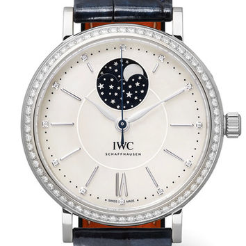 IWC SCHAFFHAUSEN - Portofino Automatic Moon Phase 37 alligator, stainless steel, mother-of-pearl and diamond watch