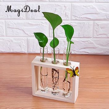 MagiDeal Crystal Glass Vase Test Tube in Wooden Stand for Flowers Plants Home Decoration Accessories