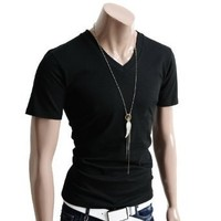 Doublju Mens V-Neck T-shirts with Short Sleeve