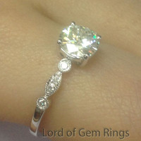 Round Moissanite Engagement Ring Pave Diamond Wedding 14K White Gold 6.5mm Art Deco