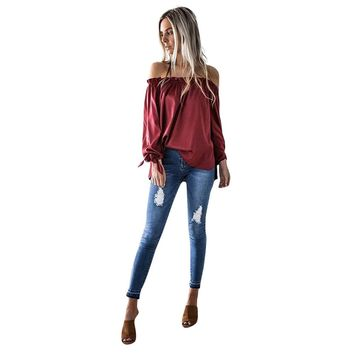 Off Shoulder Autumn Tops Women 2017 Long Sleeve Bowknot Blouse Solid Red Black  Blusas Femininas Tops