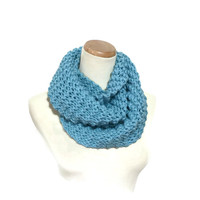 Knit Scarf, Knit Cowl, Infinity Scarf,  Blue Scarf, Circle Scarf, Gift For Her, Hand Knit Scarf, Fashion Scarf, Winter Scarf, Women's Scarf