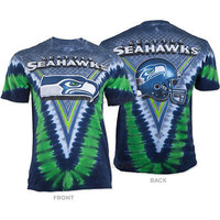 Seattle Seahawks NFL Team Apparel Logo V Tie Dye Victory T Shirt Size XL Last One