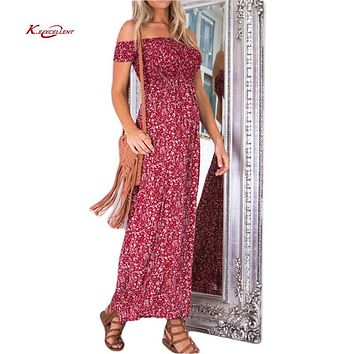 Women Dress 2017 New Fashion Sexy Off Shoulder Print Side Split Long Summer Dress Plus Size Casual High Waist Beach Maxi Vestido