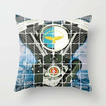 Traditional Portuguese Tile Biker Style Throw Pillow by Tony Silveira
