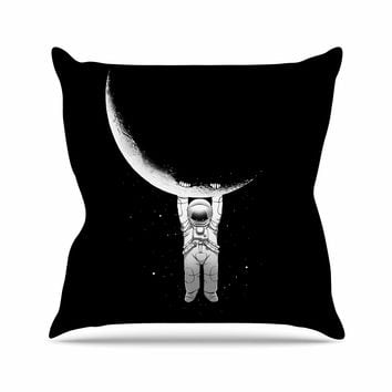 "Digital Carbine ""Help!"" Black White Outdoor Throw Pillow"