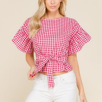 Shu Red Plaid Ruffle Sleeves Top