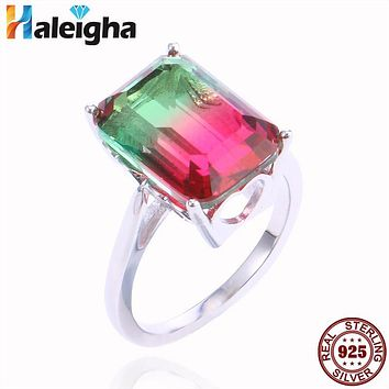 Engagement Solitaire Tourmaline Color Created Crystal Fine Jewelry 925 Sterling Silver Rings for Women Female Proposal Haleigha