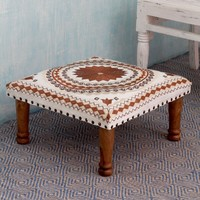 Seesham Wood Cotton Rayon 'Topaz Mandala' Foot Stool (India) | Overstock.com Shopping - The Best Deals on Ottomans