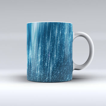 The Radiant Blue Scratched Surface ink-Fuzed Ceramic Coffee Mug