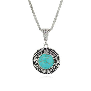 Tibetan Silver Pendant for Women Turquoise Necklaces Round design Simple Style Women's Antique Silver Simulated Metal