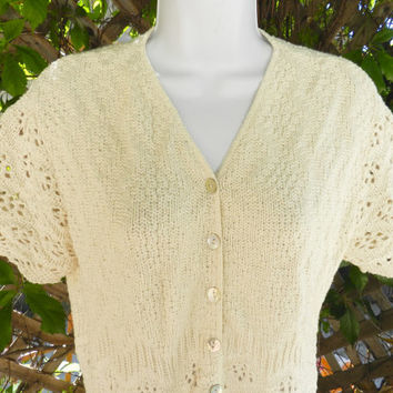 Vintage Crochet Short Sleeved Top / 1970s Bohemian Ivory Lace Knit Cardigan Sweater, Size M