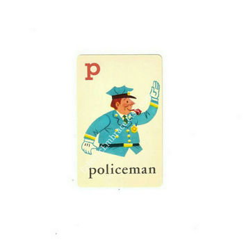 Vintage ABC Flash Card, Alphabet Illustration, Policeman, ABC Card, Alphabet Letters, Paper Crafting, Mixed Media, Swapcard, Scrabook