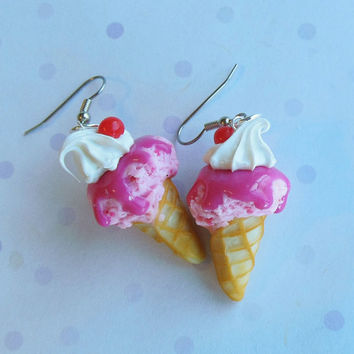 polymer clay strawberry ice cream earrings by ScrumptiousDoodle