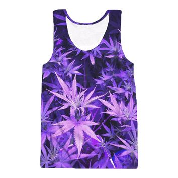 Vest Fashion Galaxy Purple Weed Leaf 3D Print Men Tank Top Sleeveless Tees Shirt Tanktop