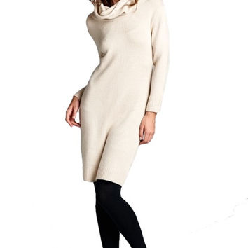 Elise Turtleneck Midi Sweater Dress - Beige
