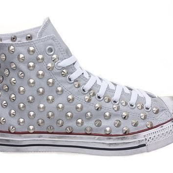 studded converse converse silver high top with silver cone rivet studs by customduo o