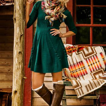 Home For The Holidays Sweater Dress-Peacock