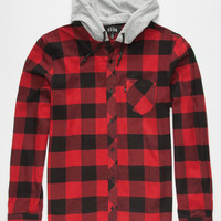 Rook Bleached Mens Hooded Flannel Shirt Red  In Sizes
