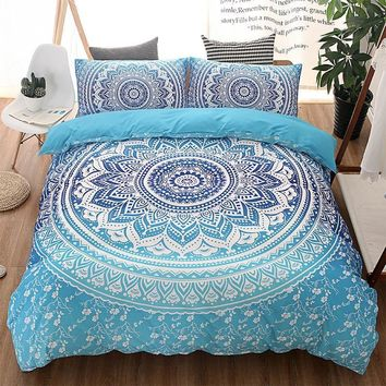 Cool Bohemian Queen Comforter Set Mandala King Twin Size 3D Bedding Set Luxury Bed Quilt Cover Duvet Cover Blue Double Sheets SetsAT_93_12