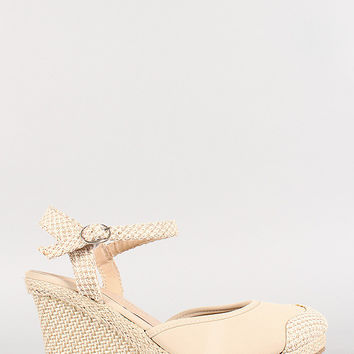 Slingback Buckle Round Toe Espadrille Wedge