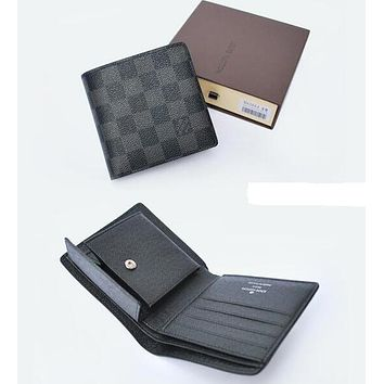 LOUIS VUITTON MEN'S LEATHER WALLET SHORT WALLET H008