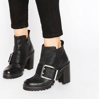 Office Apex Buckle Leather Chunky Heeled Ankle Boots at asos.com