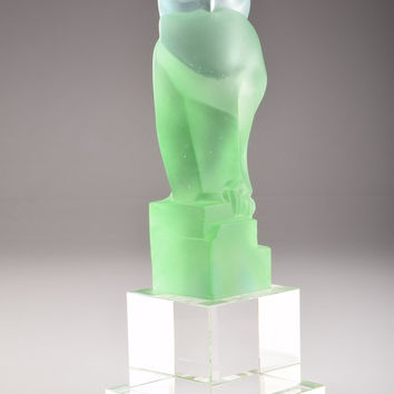 Crystal Figurine of Green Owl Clear and Stained Hand-Crafted Quality Glass