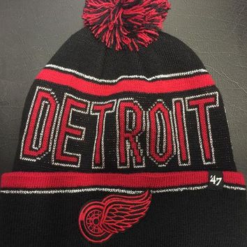 ONETOW NHL Detroit Red Wings Women's Black Ellie Cuffed Knit Hat w/ Pom