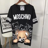 MOSCHINO Woman Men Fashion Print Tunic Shirt Top Blouse T-shirt Black