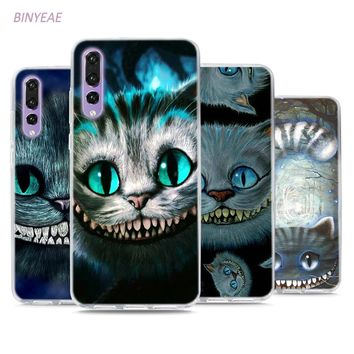 BINYEAE Alice in Wonderland Cheshire Cat Style Clear Soft TPU Phone Cases for Huawei P20 Lite Honor 9 8 Lite 7X 6A 6X 6C Pro
