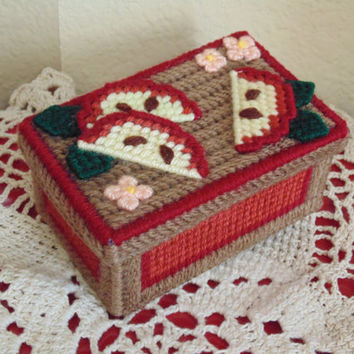 Kitchen Decor Needle Art Box Apple Slice Red Cream Brown Spice box Tea Container