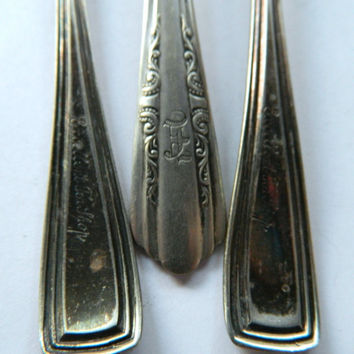 3 Vintage Silverplated Iced Tea Spoons for Repurposing or Crafting - 2 Marked Excellent Tea Shop