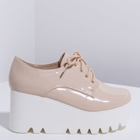 Throwback Faux Patent Platform Oxfords