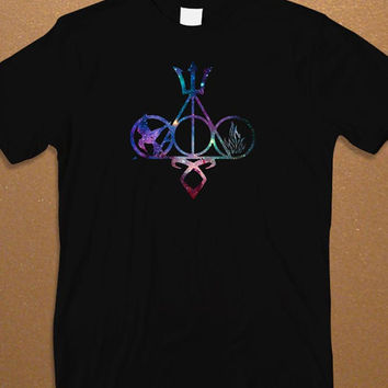 Harry Potter and Catching Fire Symbol Galaxy Design Men's T-shirt, Harry Potter T-shirt, Awesome Shirt