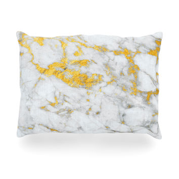 "KESS Original ""Gold Flake"" Marble Metal Oblong Pillow"