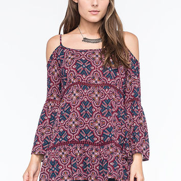 Patrons Of Peace Cold Shoulder Womens Top Burgundy  In Sizes