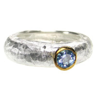 Polemis 521 - Sterling Silver Band Ring with Stone