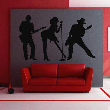 ik2609 Wall Decal Sticker rock band guitar heavy lounge music store