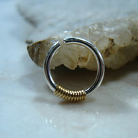 Septum Ring Sterling Silver with Gold Wrap