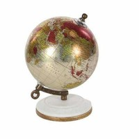 Livingston Pu Wood Metal World Globe