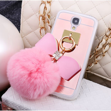 Newest Luxury Rhinestone Shining Mirror Cute bow Fur Ball Tassels Phone Cases Cover For samsung Galaxy S5 I9500 case C1394