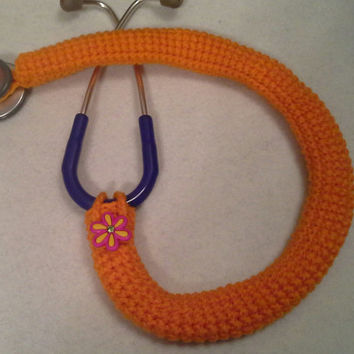 Orange Flower Button Stethoscope Cover, Nurses Stethoscope Covers, LPN, RN, CNA, medical fashion accessories, crochet
