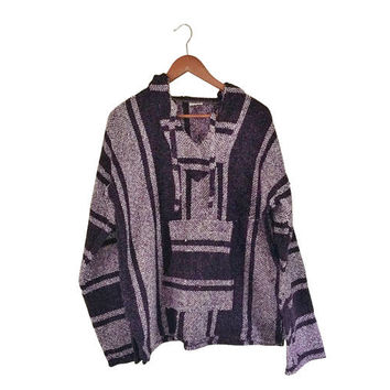 Vintage Baja Hoodie Purple Drug Rug Baja Pullover Hippie Hoodie Baja Jacket Plus Size Clothing Mexican Drug Rug Hippie Clothing Ethnic